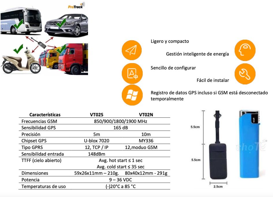 rastreadpr de vehículos GPS inteligente Protrack VT02S-N